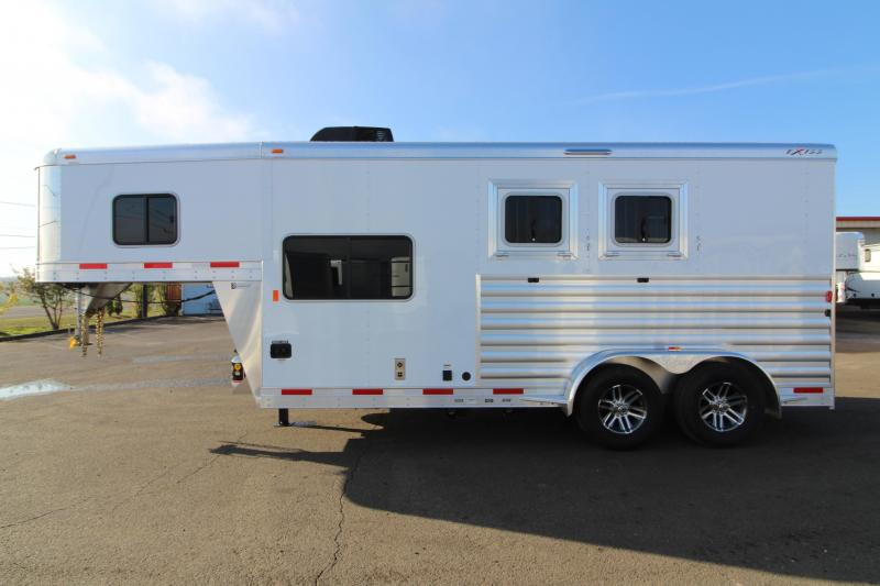 2019 Exiss 7206 - 2 Horse Trailer w/ 6' Living Quarters - Easy Care Flooring - Stud Wall - Power Awning