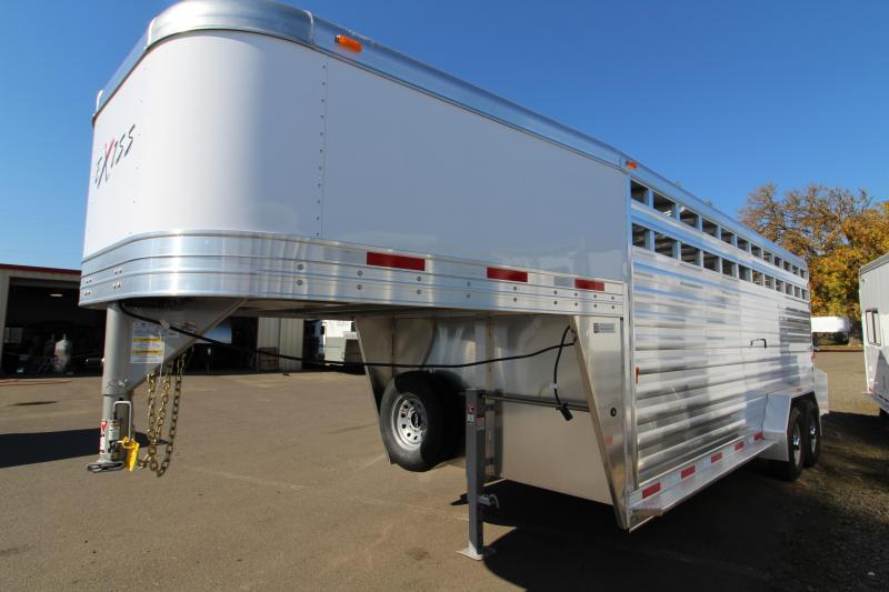 "2019 Exiss 7020 All Aluminum 20' Livestock Trailer - EXTRA TALL 7'2"" - with Escape Door on Curbside - Solid Center Gate - Rear Gate with Slider"