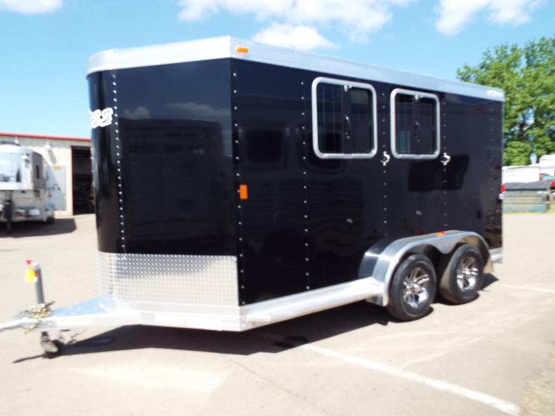 2017 Exiss 720 - 2 Horse All Aluminum - Black Exterior - UPGRADED EASY CARE FLOORING Horse Trailer - Folding Rear Tack Room - REDUCED BY $1100