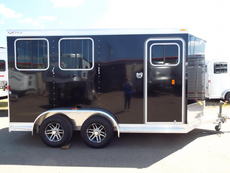 2017 Exiss 720 - 2 Horse All Aluminum - Black Exterior - UPGRADED EASY CARE FLOORING Horse Trailer