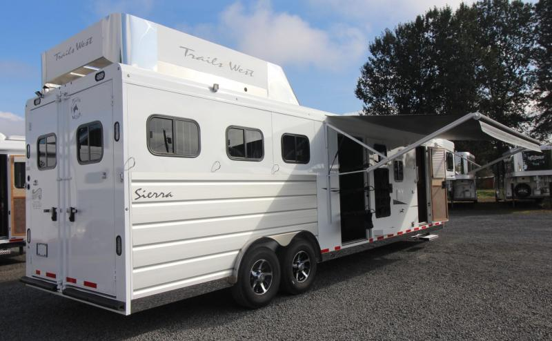 2019 Trails West Sierra 13x13 Living Quarters w/ slide 3 Horse Trailer - Hayrack - Side tack