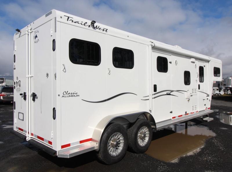 2019 Trails West Classic 10x10 Living Quarters 2 Horse Trailer w/ Side Tack