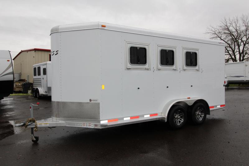 "2018 Exiss 730 - 3 Horse All Aluminum Added Height 7'8"" Tall - White Exterior - UPGRADED EASY CARE FLOORING Horse Trailer - Swing Out Saddle Rack - Escape Door - Air Flow Dividers - Stud Wall - PRICE REDUCED BY $300"