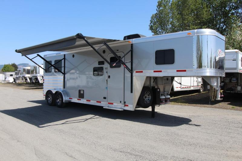 2018 Exiss Escape 7210 - 10' Short Wall LQ 2 Horse Trailer - Easy Care Flooring