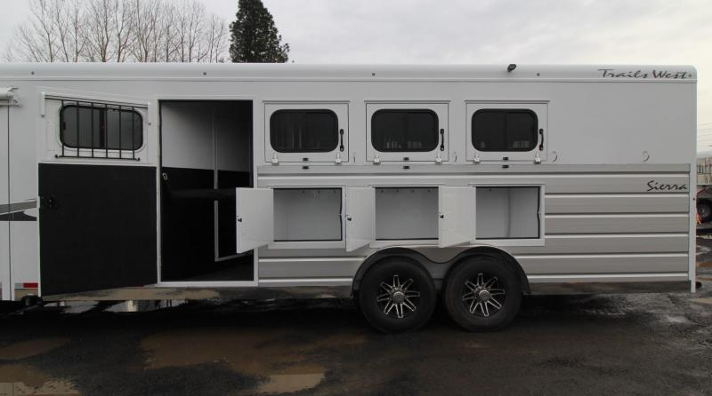 """2019 Trails West Sierra 13x13 Living Quarters w/ Slide Out w/ Dinette - 4 Horse Trailer - Side Tack - Mangers - 8' Wide 7'6"""" Tall - Easy care flooring"""