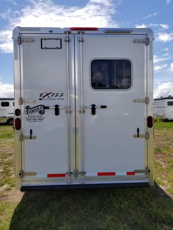 """2018 Exiss 730 Lined & Insulated 7' 6"""" Tall - Large Tack Room w/ Swing out saddle rack - 3 Horse Trailer"""