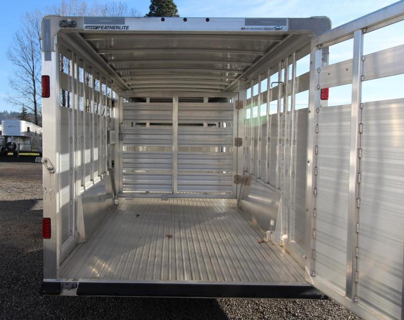 "2019 Featherlite 8127 - 20ft Long 7' wide 6'6"" Tall Livestock Trailer - sliding sort door"