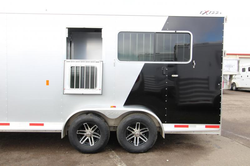 2018 Exiss Trailers 7200 SR - 2 plus 1 Horse Trailer - with Rear and Side Ramps- Dual Exterior Coloring - Easy Care Flooring - Lined and Insulated - Upgraded to Drop Down Feed Doors