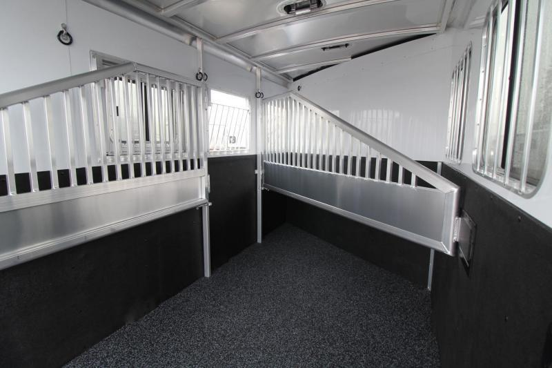 """2018 Exiss 730 - Polylast flooring - 7'6"""" Tall - Extruded Sides - Upgraded Side Sheets -3 Horse Trailer W/ Rear Tack"""