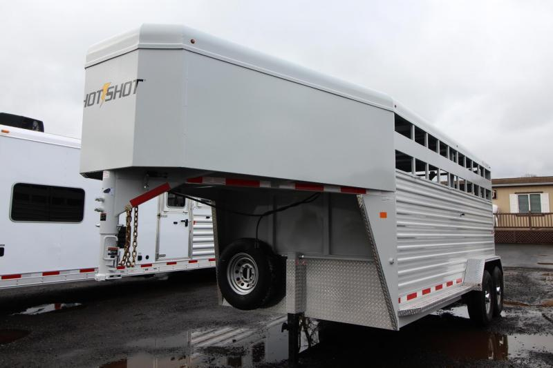 2018 Trails West Hotshot 16ft Steel Livestock Trailer - Aluminum Roof - Center Gate with Sort Door - 2 LED Load Lights - Reduced Price