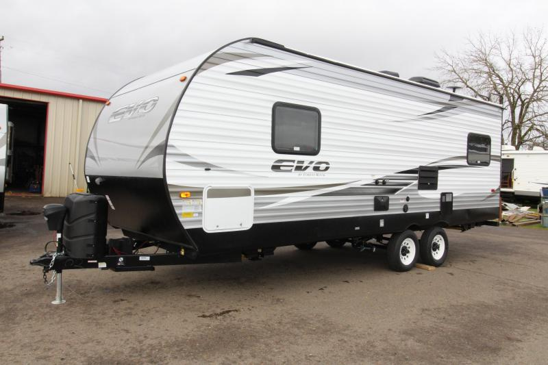 2018 Forest River EVO 2010 Travel Trailer - New Floorplan w/ Walk Around Queen Bed - Dinette and Sofa! - Golden Ash Interior Decor  - PRICE REDUCED BY $1950