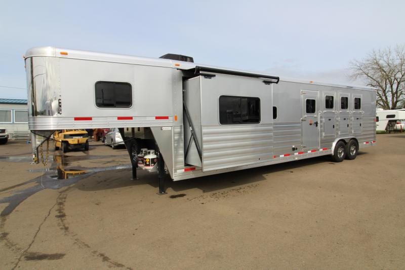 2018 Exiss Trailers 8414 - 4  Horse Trailer 14' SW LQ - Slide Out - All Aluminum - Swing Out Saddle Rack - Easy Care Flooring - Silver Exterior Color - TOTAL PRICE REDUCTION OF $2000 in New Pine Creek, OR