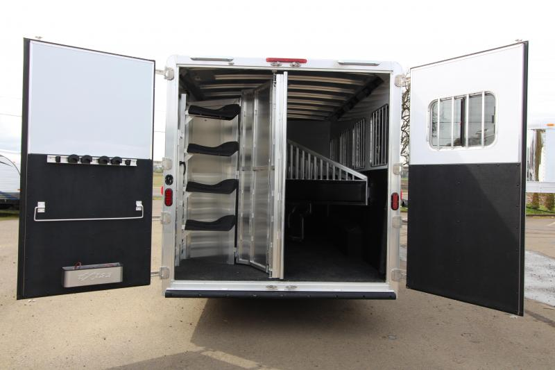 2018 Exiss Trailers 8414 - 4  Horse Trailer 14' SW LQ - Slide Out - All Aluminum - Swing Out Saddle Rack - Easy Care Flooring - Silver Exterior Color