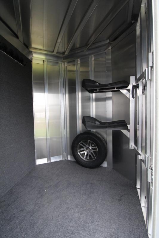 2018 Exiss 720 Aluminum 2 Horse Trailer - Large Tack Room - Swing out Saddle Rack - Polylast Flooring