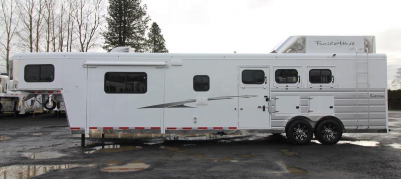 2019 Trails West Sierra 15x19 W/ Slide Living Quarters 3 Horse Trailer Couch & Dinette