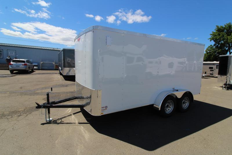 2019 Mirage Xpo 7x14 Enclosed Cargo Trailer- Crystal white exterior-  Man door w/ barlock