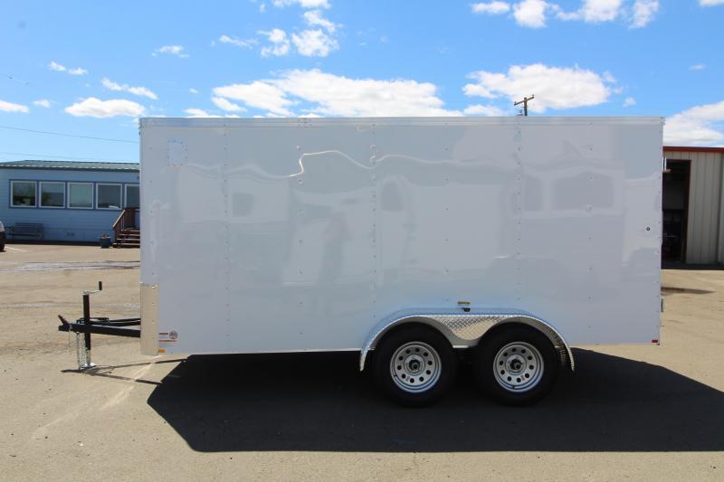 2019 Mirage Xpo 7x14 Enclosed Cargo Trailer- Crystal white exterior-  Man door w/ barlock