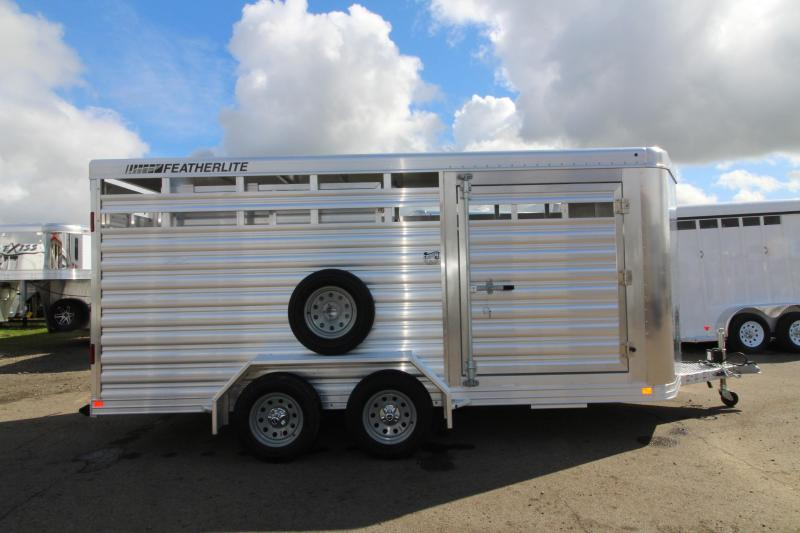"2018 Featherlite 8107 - 16 Ft Stock Trailer - All Aluminum - 6'6"" Tall - 6'7"" Wide - Upgraded Western Package - Center Gate with Slider"
