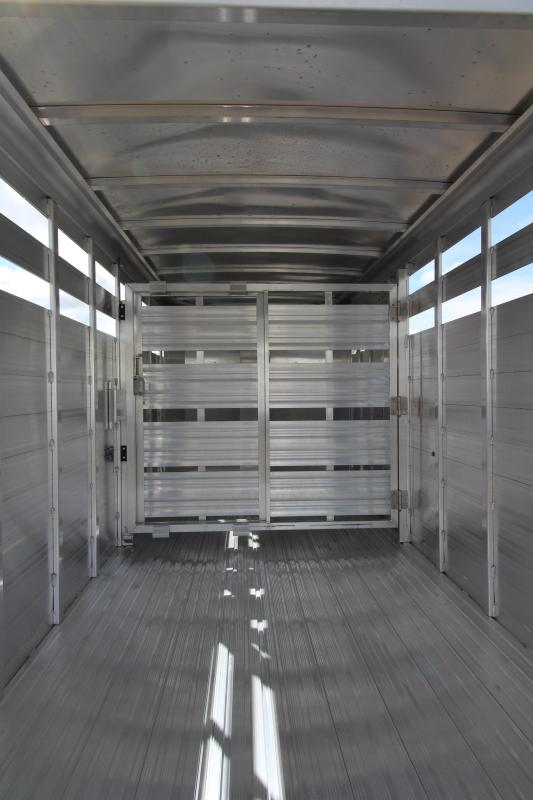 """2018 Featherlite 8107 - 16 Ft Stock Trailer - All Aluminum - 6'6"""" Tall - 6'7"""" Wide - Upgraded Western Package - Center Gate with Slider"""