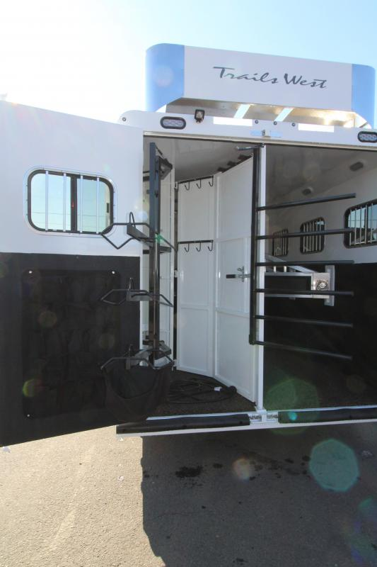 2019 Trails West Sierra 11 x 15 8 Wide with Slide Out 3 Horse Trailer - Steel Frame Aluminum Skin - Mangers- Hay rack and Ladder - Power Awning Upgrade