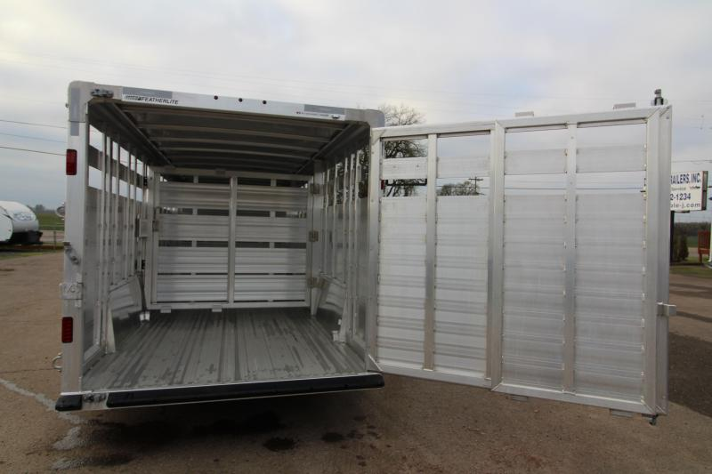 2019 Featherlite 8127 Stock Trailer 24' - All Aluminum - Dual Center Gate with Slider - Rear Gate with Slider - Air Vents in Drop Wall
