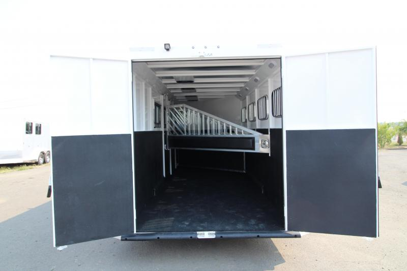 "2019 Trails West  Classic - 7'6"" Tall 4 Horse Steel Frame Aluminum Skin Trailer - Escape Door"