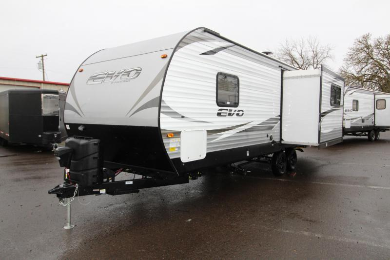 2018 Forest River EVO Travel Trailer 2460 - Arctic Package - Slide out with Dinette and Sofa - Recliner Chairs - Golden Ask Interior Decor
