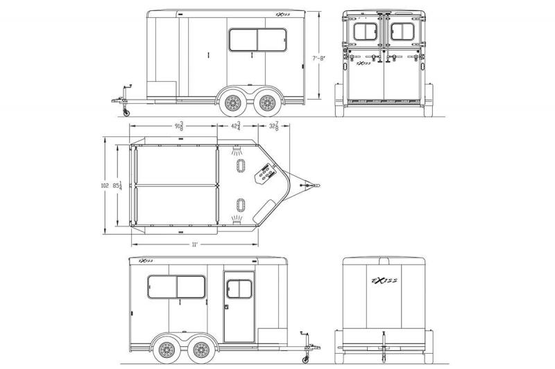 """2019 Exiss Trailers 722 Straight Load Horse Trailer -7'8"""" Tall - 40"""" Stall Width  Rear Ramp - All Aluminum -"""