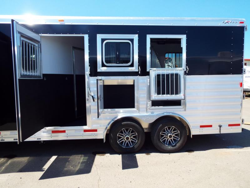 2017 Exiss  8312 - 3 Horse Trailer - 12 ft SW w/ Slide Out - Dinette - Mangers - First stall Escape and stud wall - Jailbar Dividers - EASY CARE FLOORING