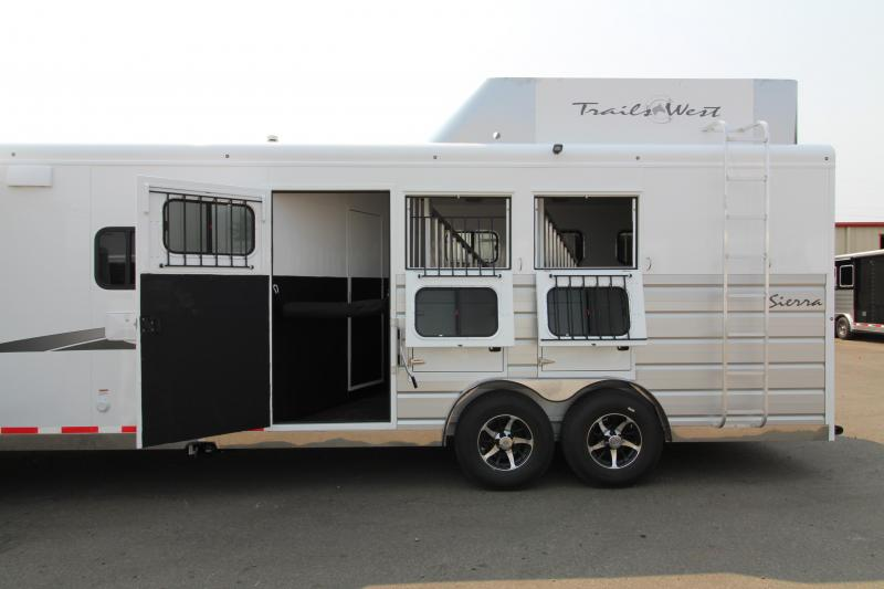 2019 Trails West Sierra 3 Horse Trailer - 15x19 LQ with Slide Out - Oven - Generator Ready - Hay Rack - Mangers - Upgraded Premium Western Interior
