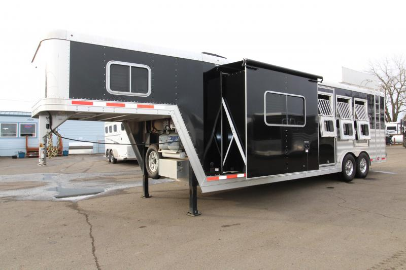 2016 Featherlite 9821 11' SW LQ with Slide Out 3 Horse Trailer - With Rear Ramp - Mangers - and Custom Diamond Plate Hay Rack