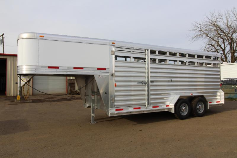"2018 Exiss STK 7018 18' Stock Trailer - 7'2"" Tall - All Aluminum Construction - Rear and Center Gates with Sliders - 54"" Drivers side Escape Door"