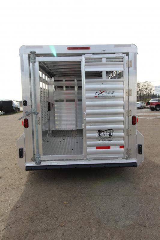 """2018 Exiss STK 7018 18' Stock Trailer - 7'2"""" Tall - All Aluminum Construction - Rear and Center Gates with Sliders - 54"""" Drivers side Escape Door"""