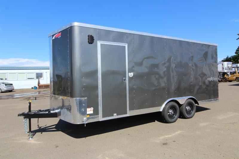 2019 Mirage Xpres 8.5x18 Enclosed Cargo Trailer- Side by side package - Charcoal exterior skin -RV door - Interior spare tire and tiremount