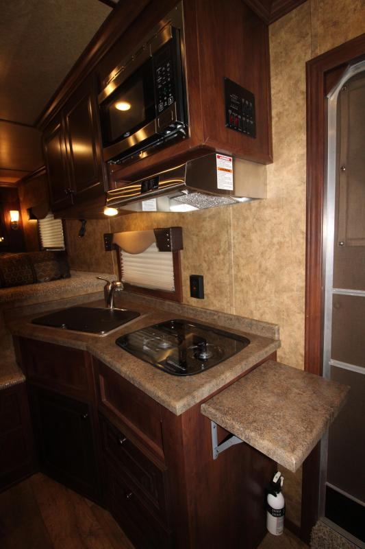 """2018 Exiss 8410 10 ft LQ 4 Horse Trailer - All Aluminum - 7'8"""" Tall - Stud Wall - Easy Care Flooring - Large Refrigerator - Power Awning"""