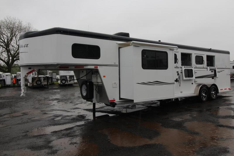 "2017 Trails West Sierra 8x13 -8' Short Wall- Slide Out - 7'6"" Tall - Hoof-Grip Easy Care Flooring - Mangers - Escape door 4 Horse LQ Trailer PRICE REDUCED $2332"