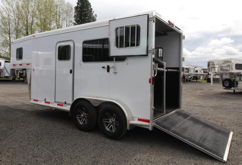 "2019 Exiss 7200 ST 7'8"" Tall LED Lights 2 Horse GN Trailer"