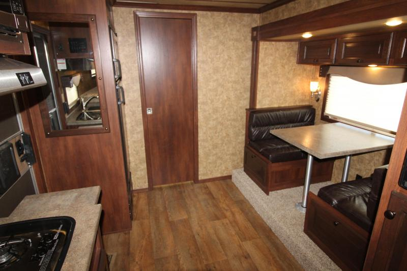 2019 Exiss 8210 - 2 Horse Trailer with 10' Living Quarters with Dinette in Slide Out - Swing Out Saddle Rack - Easy Care Flooring - Lined and Insulated Horse Area - All Aluminum Construction