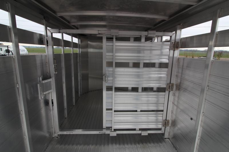 "2019 Featherlite 8107 Livestock Trailer - All Aluminum - 16' - 6'6"" Tall - Slider in Rear and Center Gates"
