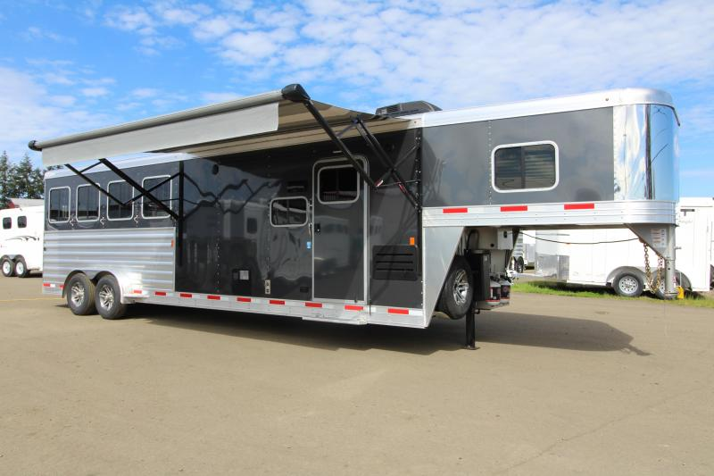 2019 Exiss Trailers 7410 - 10' SW LQ with Slide Out 4 Horse All Aluminum Trailer - Easy Care Flooring Upgrade - Upgraded Interior