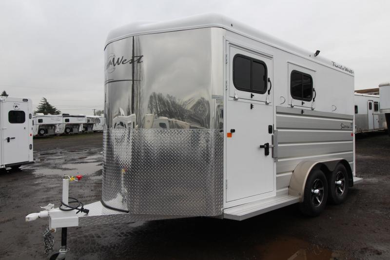 "2018 Trails West Sierra II - 2 Horse Warmblood Trailer - Aluminum Skin Steel Frame - Swing out saddle rack - 7'6"" Tall"