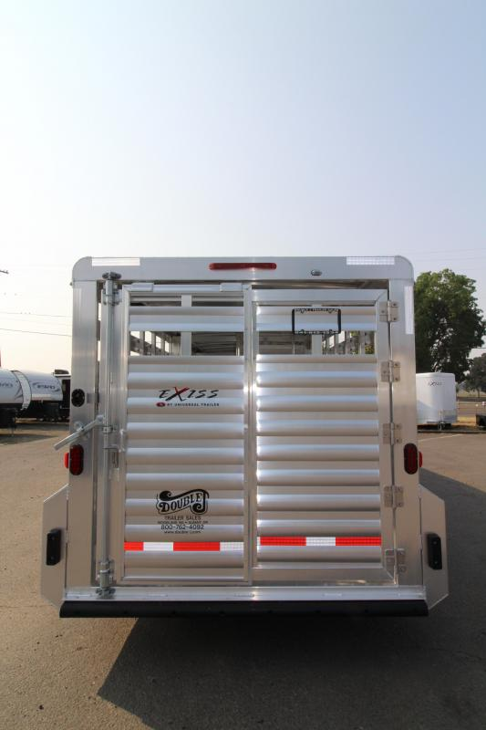 "2019 Exiss 7024 Livestock Trailer - 6'8"" Tall - Sliders in Dual Center Gates - All Aluminum Construction - Rear Gate with Slider"