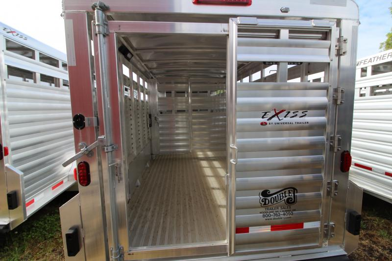 """2019 Exiss 7024 Livestock Trailer - 6'8"""" Tall - Sliders in Dual Center Gates - All Aluminum Construction - Rear Gate with Slider"""