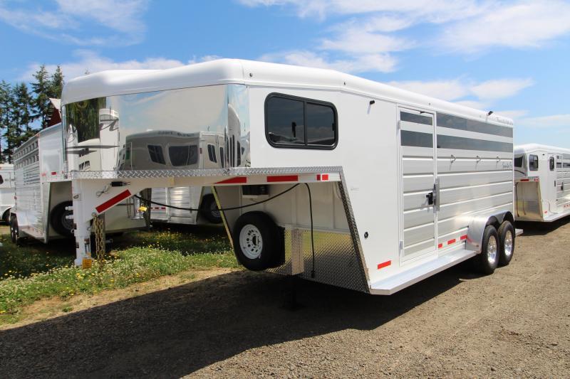 2019 Trails West Santa Fe 17 ft Gooseneck 3 Horse Trailer - Steel Frame Aluminum Skin - Escape Door - Swing Out Saddle Rack
