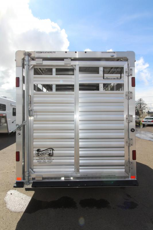 "2018 Featherlite 8107 - 16 Ft Stock Trailer - All Aluminum - 7' Tall - 6'7"" Wide - 4.8K Axles - Upgraded Western Package - Sheet White Nose - Center Gate with Slider"