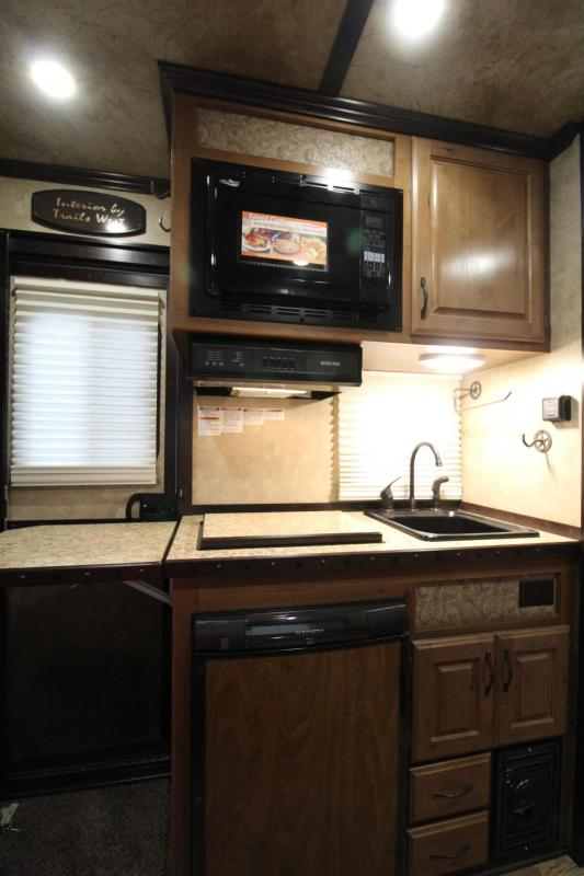 """2018 Trails West Classic 8x13 - 2 Horse Living Quarters Trailer - Aluminum Skin Steel Frame - Awning - AC - 7'6"""" Tall"""