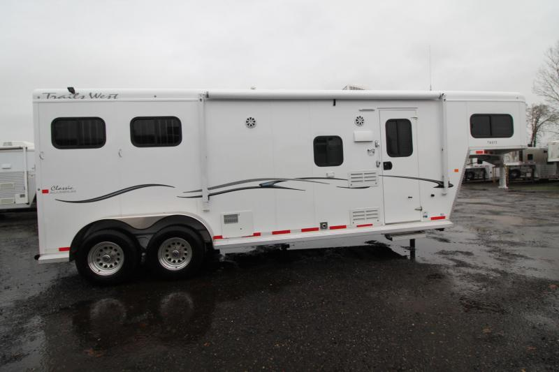 "2018 Trails West Classic 8x13 - 2 Horse Living Quarters Trailer - Aluminum Skin Steel Frame - Awning - AC - 7'6"" Tall"