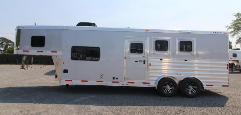 "2018 Exiss Escape 7308 - 8' 6"" SW Living Quarters 3 Horse Trailer - Electric Awning - Upgraded Side Sheets - Easy Care Flooring"