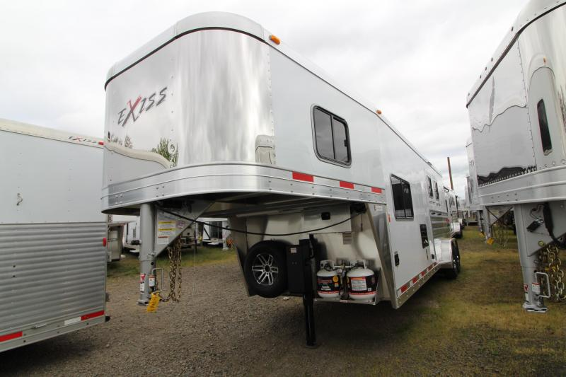 "2018 Exiss 7210 10' SW LQ  with Slide Out - 2 Horse All Aluminum Trailer - 7'8"" Tall - Power Awning - Aluminum Wheels - Easy Care Flooring"