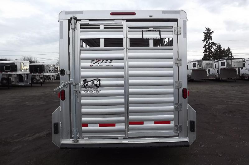 "2017 Exiss Stock 7020 All Aluminim 7'2"" Tall- Slider In Center Gate -  20' Stock Trailer"